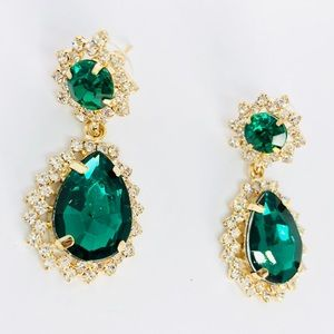 New! Emerald Green Crystals Rhinestones Earrings